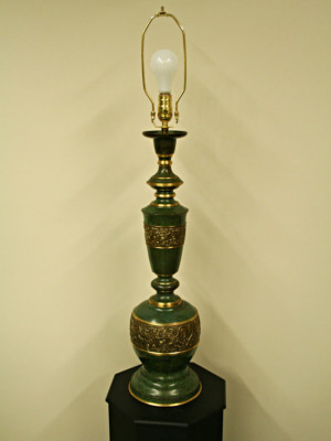 Asian Style Brass Lamp w/ Verde Finish c. 1960