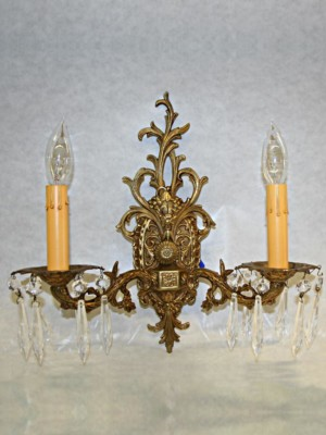 Vintage Pair of Ornate Brass Wall Sconces, c. 1950