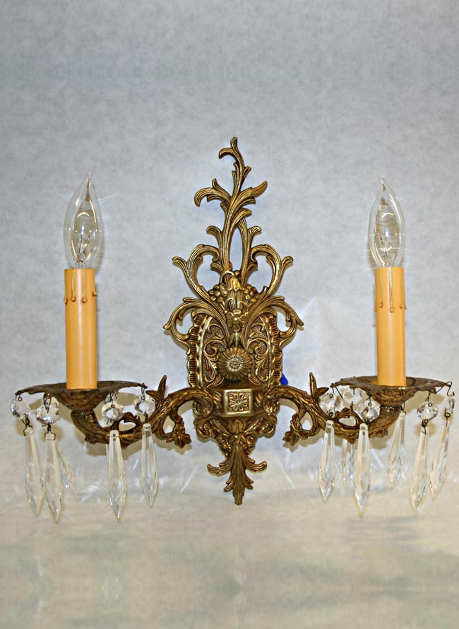 $699.95 Contact Us · Vintage Pair Of Ornate Brass Wall Sconces, C. 1950
