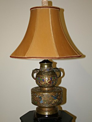 Champlevé Table Lamp, c. 19th Century