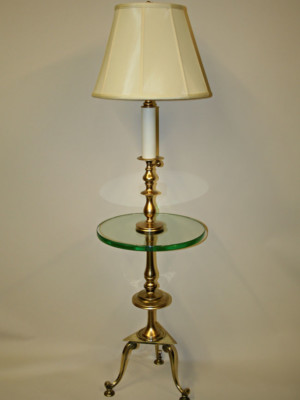 Mid Century Floor Lamp w/ Built-in Glass Table, c. 1970