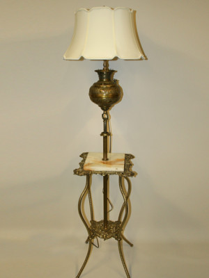 Victorian Adjustable Height Floor Lamp w/ Brass Table, c. 19th Century