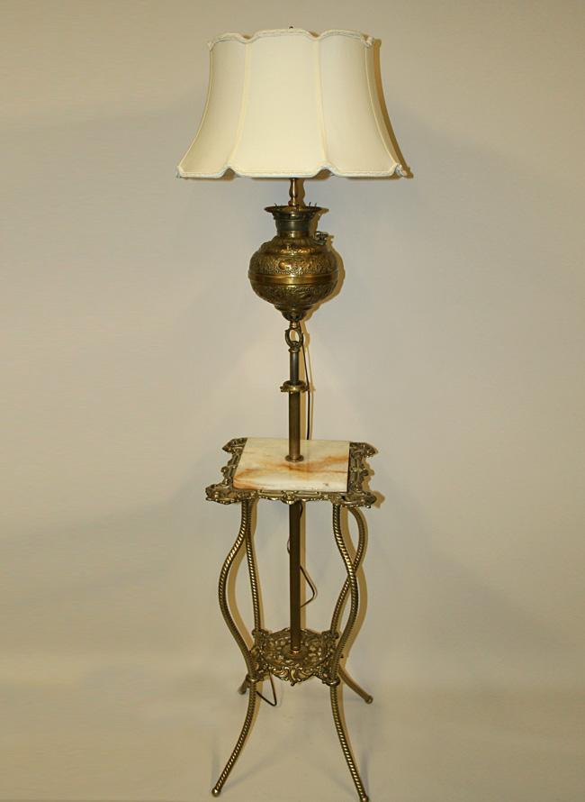 Victorian Adjustable Height Floor Lamp W Brass Table C 19th Century