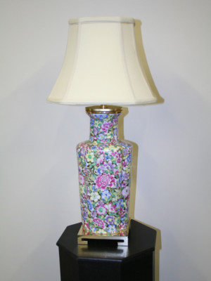Vintage Asian Porcelain Vase Lamp w/ Brass Square Base, c. 1960