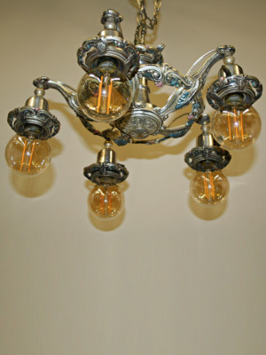 Silver Five Light Bare Bulb Fixture w/ Original Polychrome, c. 1920