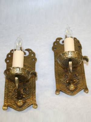Pair of Arts & Crafts Gothic Style Wall Sconces, c. 1920