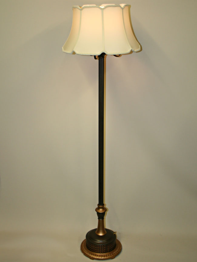 Restored six way floor lamp w nightlight in latticework base c 1940