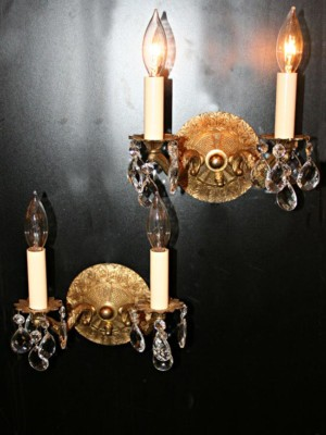 Pair of Two Light Spanish Cast Brass Sconces w/ Crystal Switch Installed, c.1950
