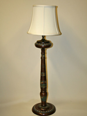 Tall Bronze Champlevé Table Lamp, c. 19th Century