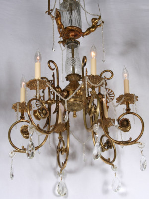 Antique Brass & Crystal European Cherub Chandelier, c.1930