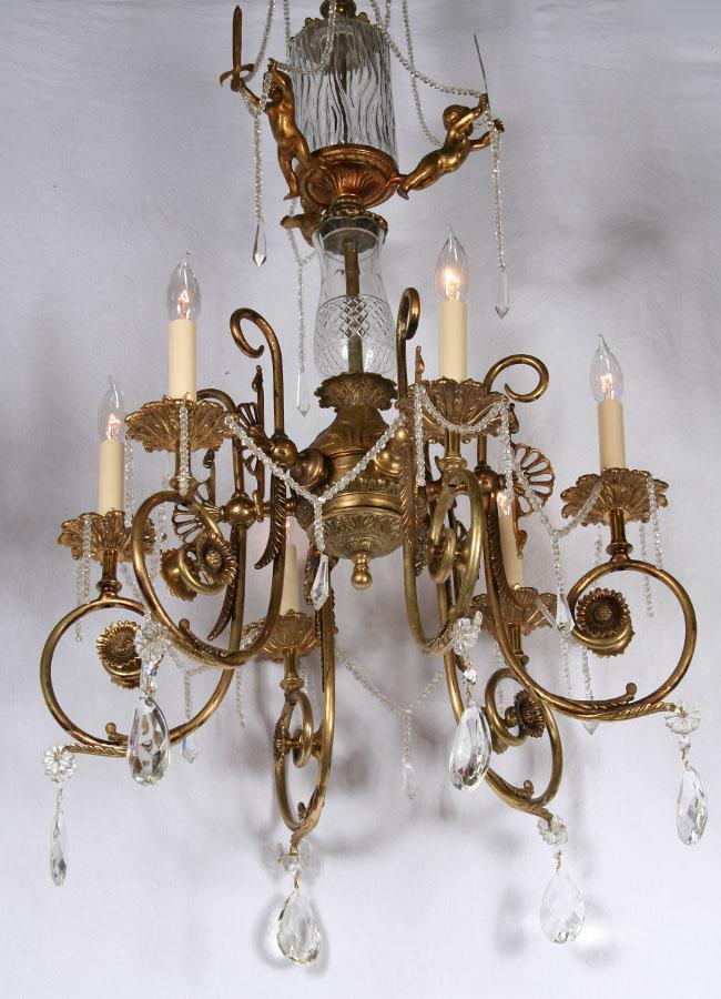 ... Antique Brass & Crystal European Cherub Chandelier, c.1930 - Chandeliers Archives Restoration Lighting Gallery