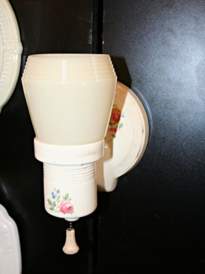 Single Porcelain Wall Sconce w/ Painted Floral Design & Glass Shade, c. 1930
