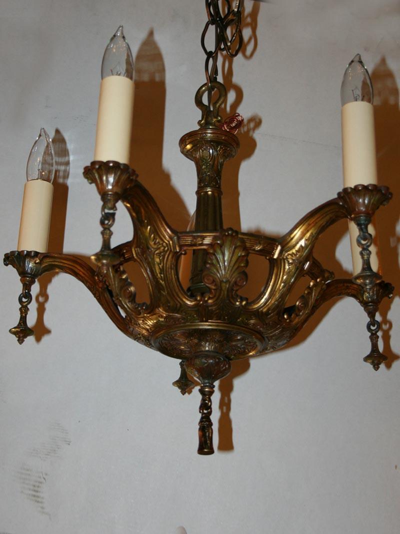 Five arm ornate chandelier c 1920 vintage five arm ornate chandelier c 1920 aloadofball Choice Image