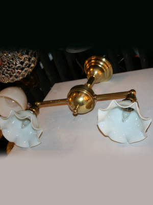 Late Victorian Fixture with Opal Shades, c. 1915