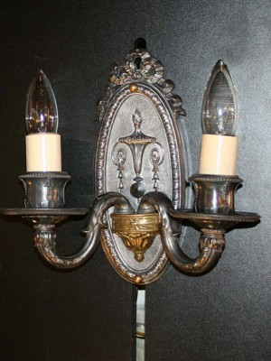 Pair of Neoclassical Antique Silver Wall Sconces, c. 1915