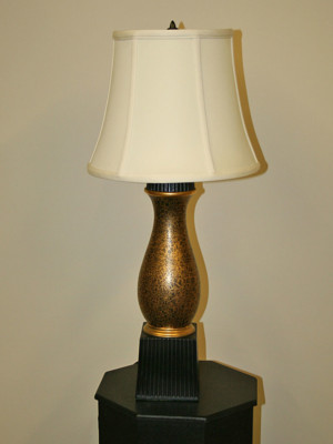 Pair of Black and Gold Lamps with Crackle Finish and Black Fluted Accents, c. 1970