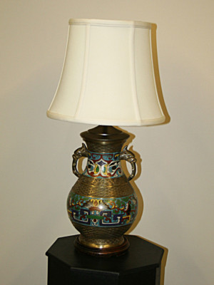 Vintage Champleve Lamp with Dragon Handles, c. 19th century