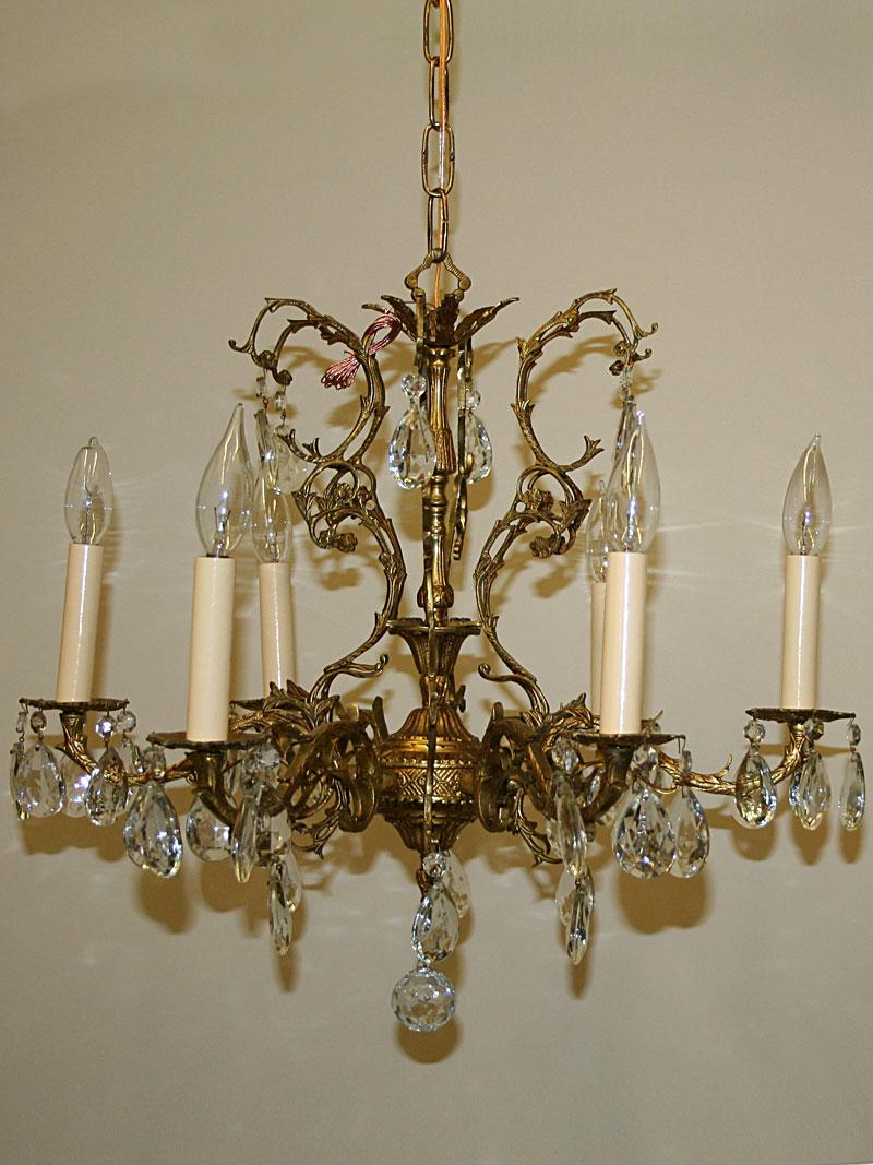Brass spanish six arm chandelier c 1950 aloadofball Images