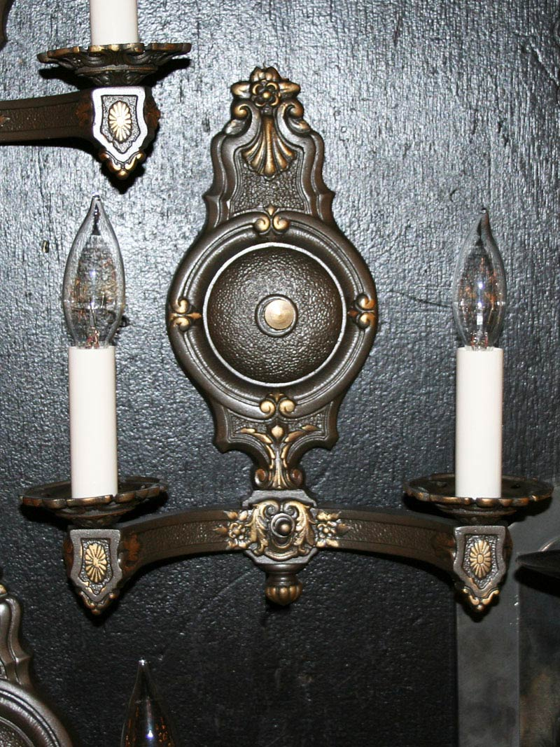 Set Of Three Vintage Wall Sconces With Floral Accents, C. 1930