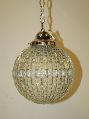 Vintage Mid Century Glass Orb Pendant with Nickel Hardware, c. 1960