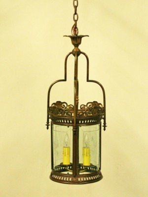 Neoclassical Round Lantern with Decorative Etching. Circa 1920's.