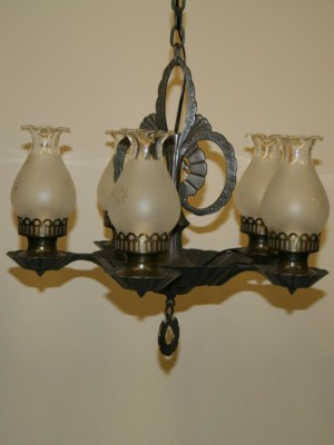 Arts and Crafts Fixture with Originial Glass, c. 1920