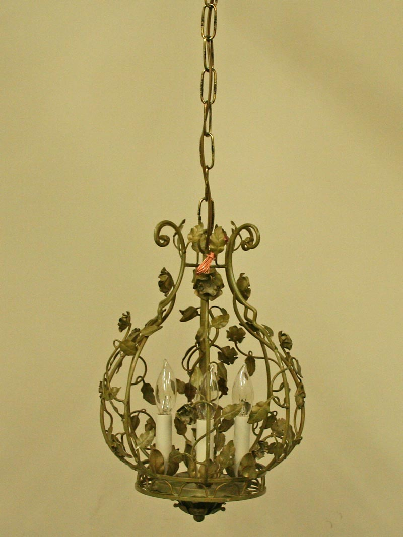 Vintage Petite Tole Cage Pendant With Roses C 1970