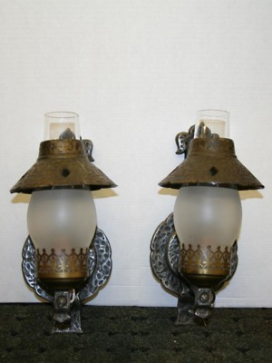 Arts and Crafts Wall Sconce with Frosted Chimney, c. 1920