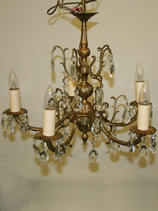 Five light brass spanish chandelier c 1950 mozeypictures Choice Image