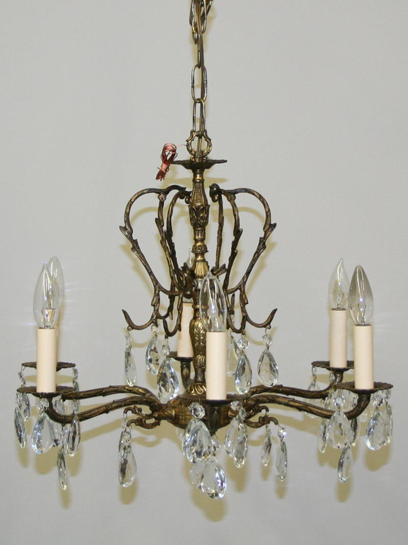 Nature inspired six light cast brass chandelier c 1950 aloadofball Gallery