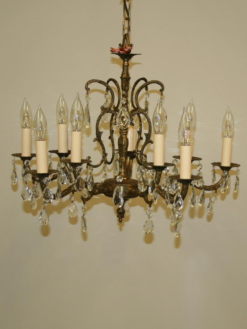 Ten light cast brass spanish chandelier w almond shaped crystal c ten light cast brass spanish chandelier w almond shaped crystal c 1950 aloadofball Images