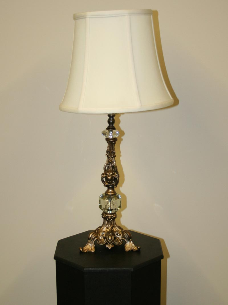 neoclassical lighting. French Inspired Ornate Candlestick Lamp W/ Glass Accent, C.1950 Neoclassical Lighting