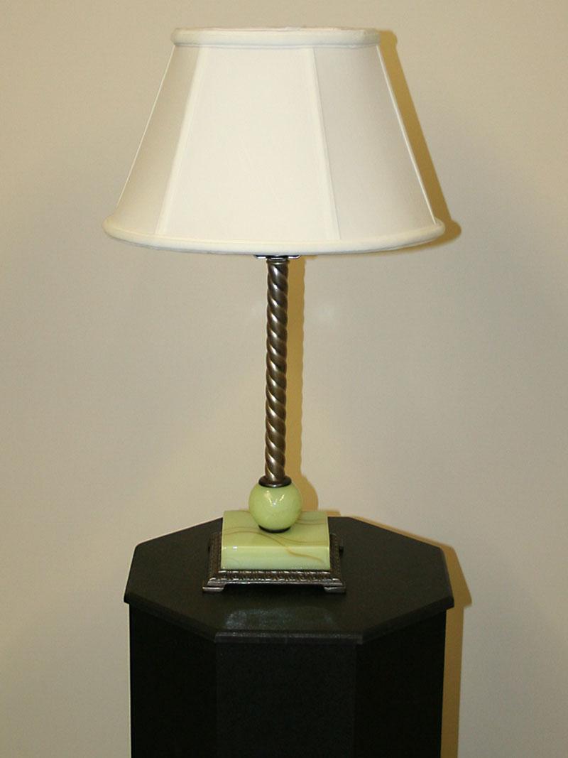Jadeite Accented Petite Table Lamp w/ Roped Column, c. 1930