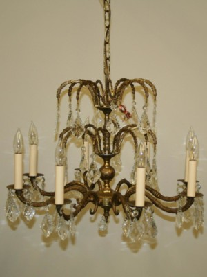 8 Lt Spanish Brass Chandelier w/ Cascading French Pendalogue Crystals, c. 1950