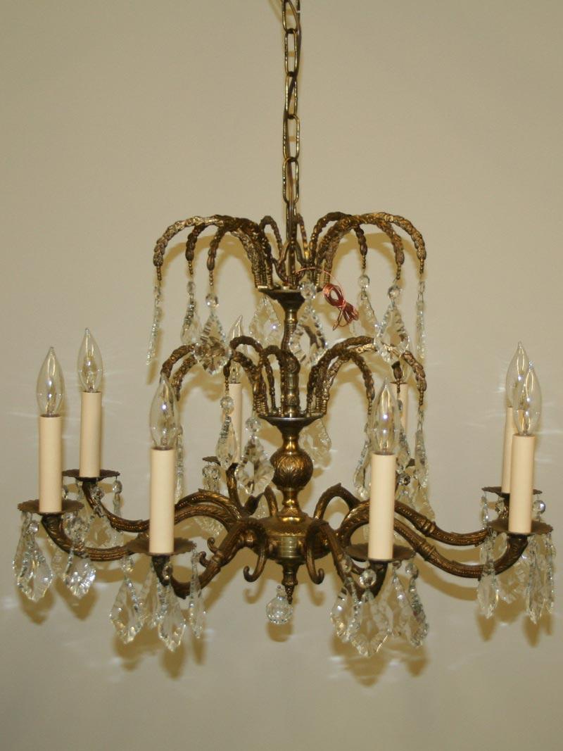 8 lt spanish brass chandelier w cascading french pendalogue 8 lt spanish brass chandelier w cascading french pendalogue crystals c 1950 aloadofball Images