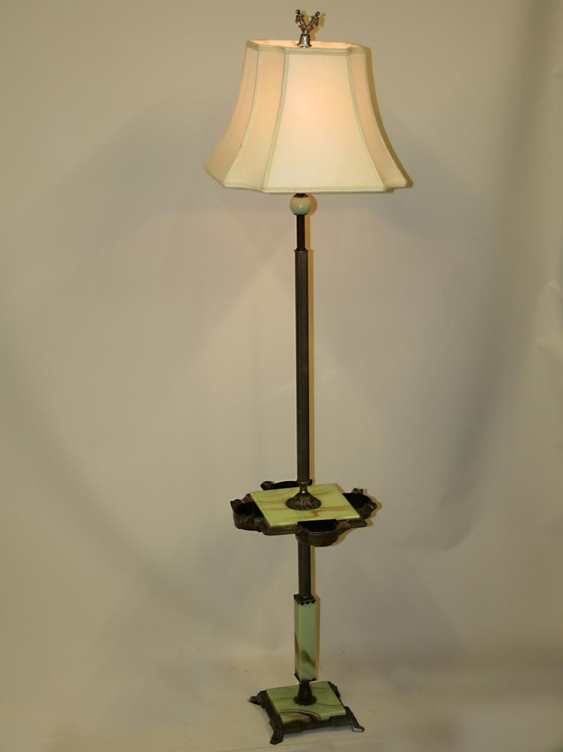 Deco style smoking table floor lamp w akro agate glass for 1930 floor lamps