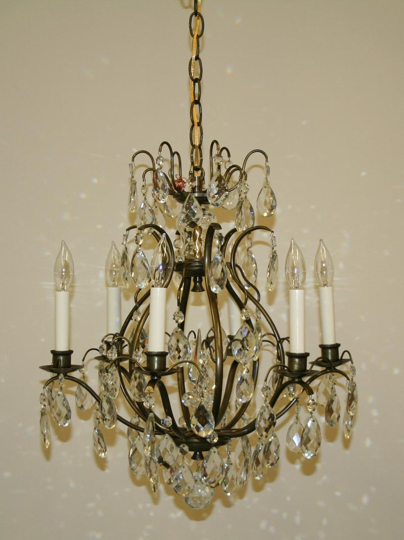 Shop vintage ceiling fixtures restoration lighting gallery ant brass cage style 6 lt chandelier w almond crystal c 1940 arubaitofo Image collections