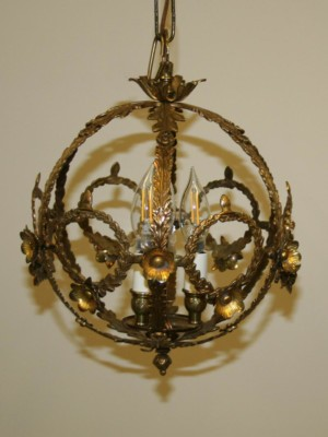 3 Lt Brass Orb Lantern Incorporating Wreath, Leaf & Flower details, c.1940