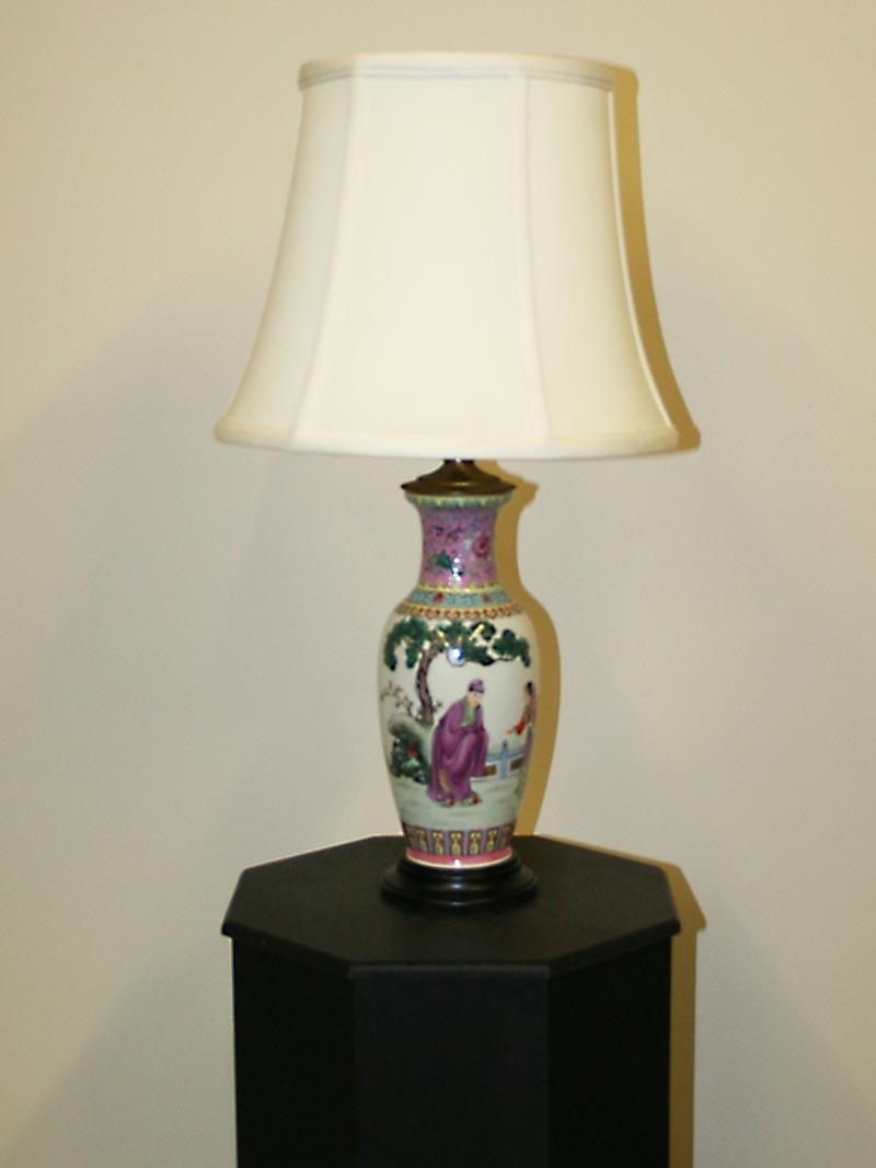 Vase lamp w garden scene c 1950 chinoiserie vase lamp w garden scene c 1950 arubaitofo Choice Image