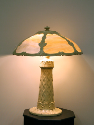 Slag glass table lamp c 1920