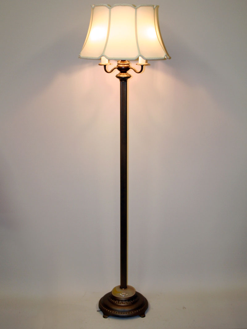 Six Way Antique Metallic Brass Floor Lamp W Faux Onyx